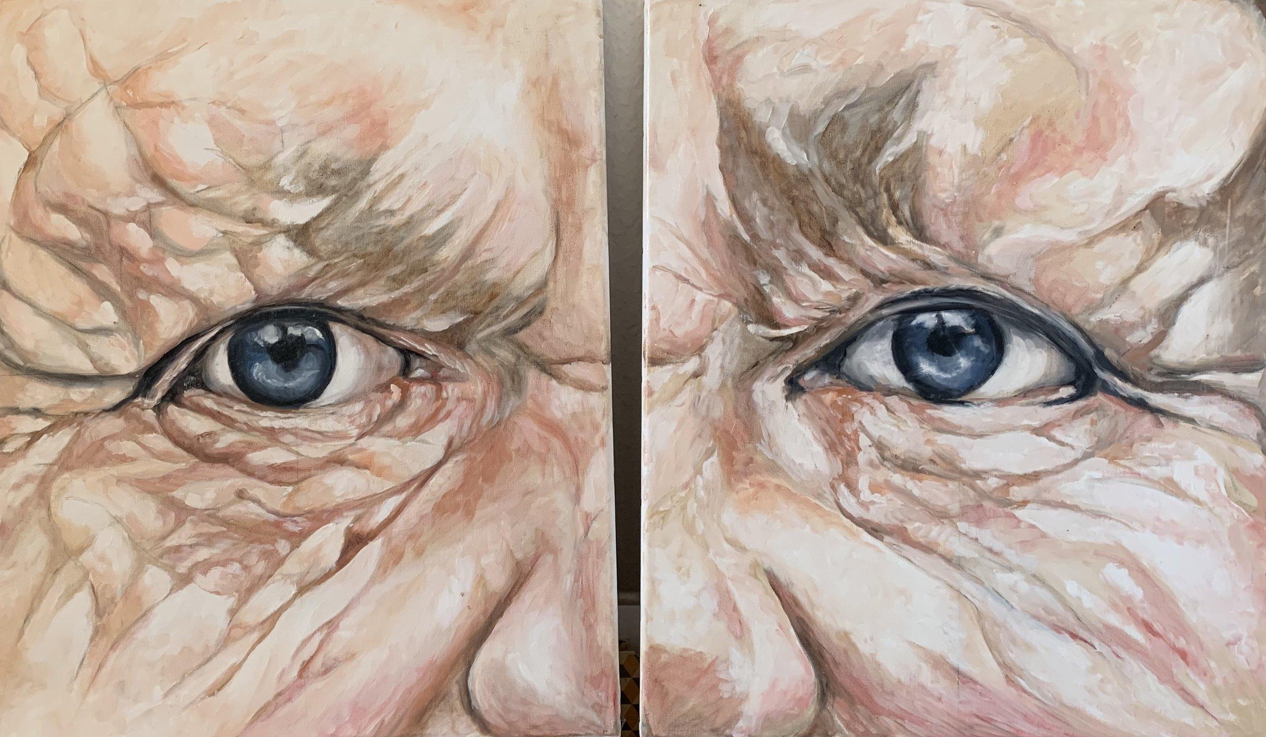 """Souvenirs - Huile sur toile, 55 x 46 cm (X2), Toulouse, 2019Série """"Poétiques Peintures"""""""