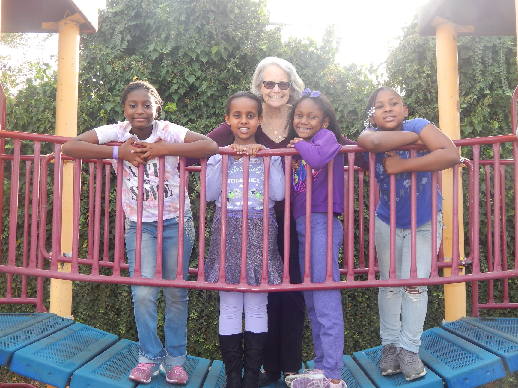 Mrs. Luann Sankey with some of her 4th and 5th grade students during Class Colors day, 2018.