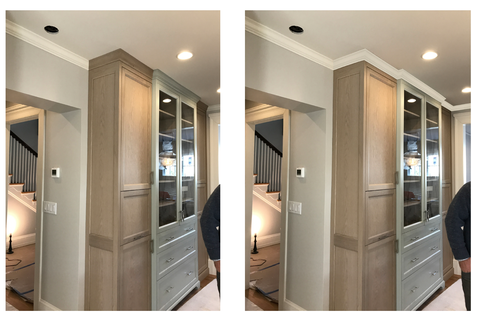 When the cabinetry began going in, this client was concerned that the crown molding on the cabinets did not match the crown molding in the rest of the kitchen. Photoshop renderings quickly helped them understand the difference.