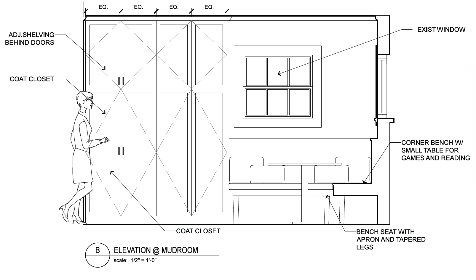 This interior elevation shows a new built-in banquette and the new cabinetry that it will seamlessly integrate into.