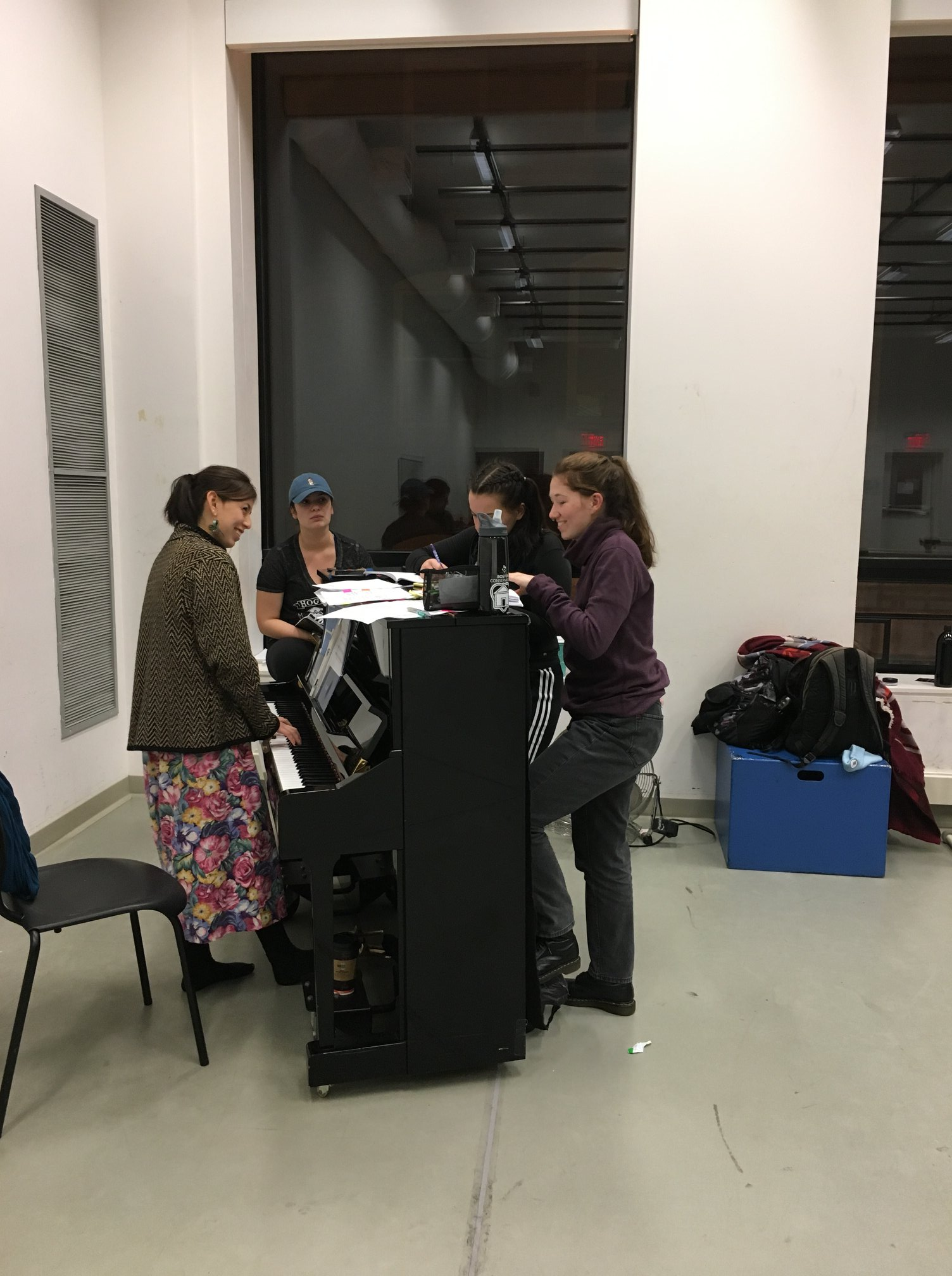 Sectional rehearsal with vocal trio. Photo by Theresa Lang.