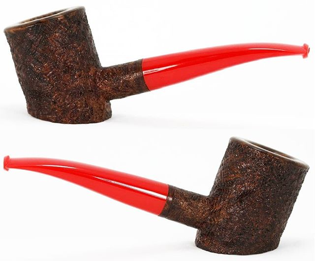 "No. 242 finished pictures. Available and on the website. Algerian briar, translucent red vintage bakelite stem with integral tenon, 22mm (.876"") chamber, 1.6oz/46g, 5"" long. This one sits. www.ejhpipes.com #pipemaking #handmade #briarpipe #sandblasting #tobaccopipe #smokingpipe #smokingpipes #woodworking #bakelite #ejhpipes"