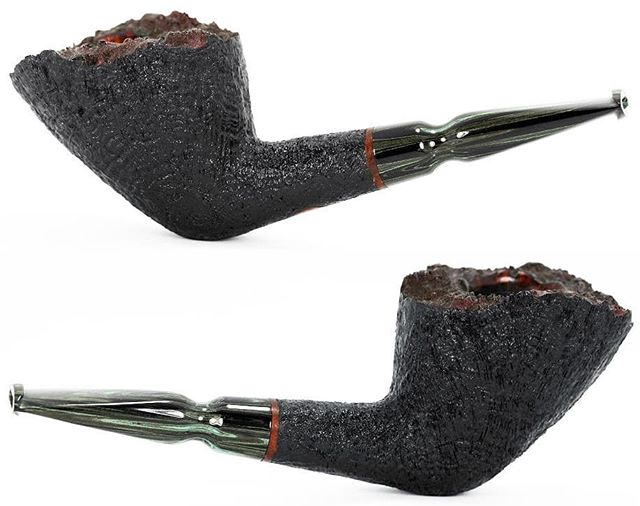 "No. 243 finished pictures. Available. Algerian briar, green cumberland stem with delrin tenon, 22mm chamber (.866"") , 2.2oz / 64g. On the website now. www.ejhpipes.com #pipemaking #handmade #briarpipe #sandblasting #tobaccopipe #smokingpipe #smokingpipes #woodworking #pipemaker #pipemaking #ejhpipes"