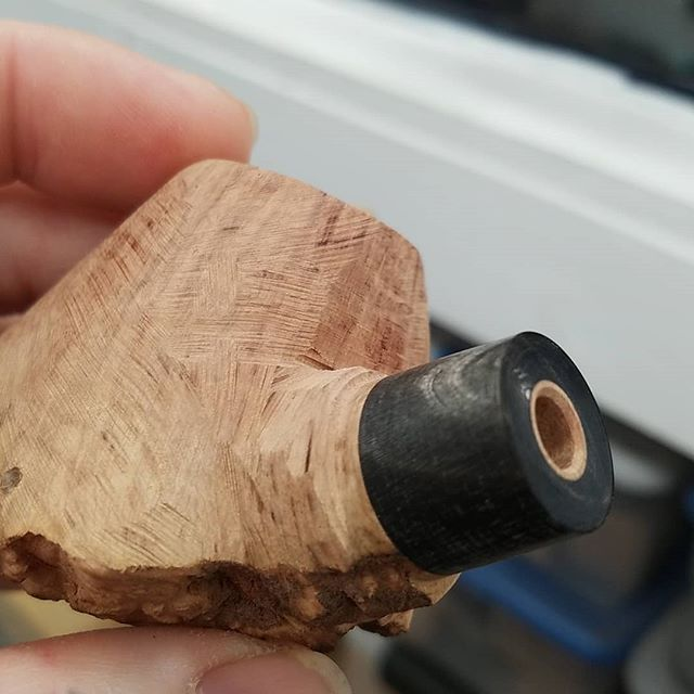 Working on a volcano with some buffalo horn. www.ejhpipes.com #pipemaking #handmade #briarpipe #tobaccopipe #smokingpipe #smokingpipes #woodworking #pipemaker #pipemaking #ejhpipes