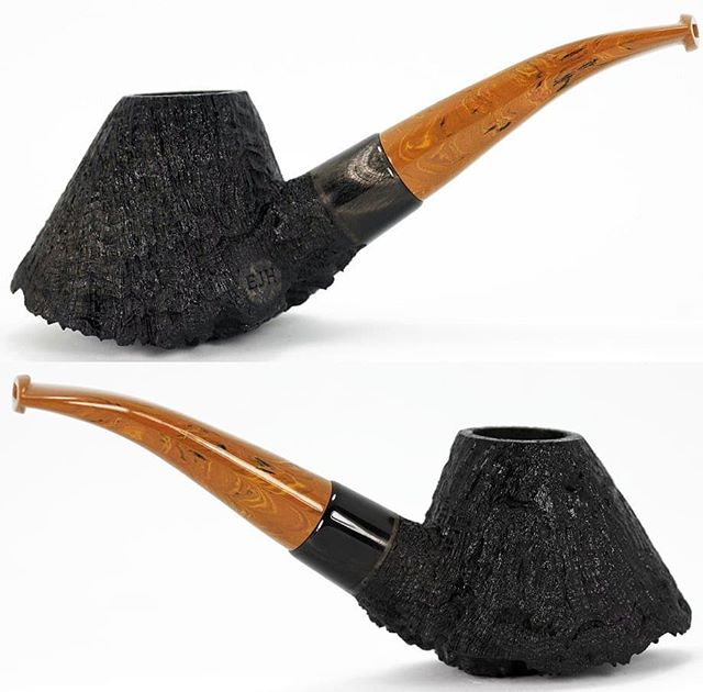 "No. 244 finished pictures. Available. Algerian briar, genuine buffalo horn shank extension, LE ""briar"" ebonite stem, delron tenon, 20mm (.787"") chamber, 2.4oz/68g. This one is now on the website. www.ejhpipes.com #pipemaking #handmade #briarpipe #sandblasting #tobaccopipe #smokingpipe #smokingpipes #woodworking #pipemaker #ejhpipes"