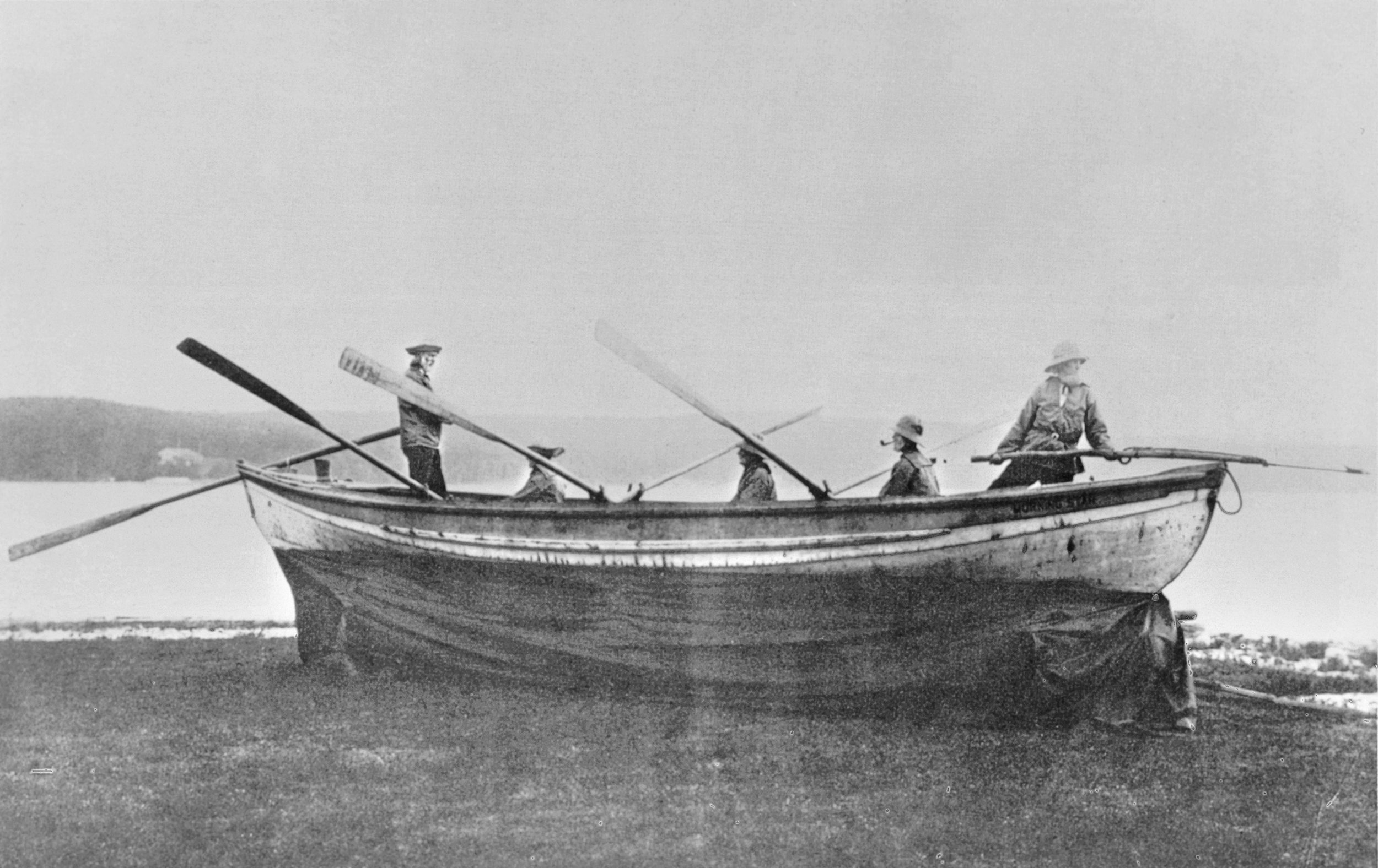 SURVIVING COLD SPRING HARBOR WHALEMEN, 1906 (left to right) George Barrett, the author's great grandfather, George Mahan, Harvey Gardiner, John Douglas, John Waters