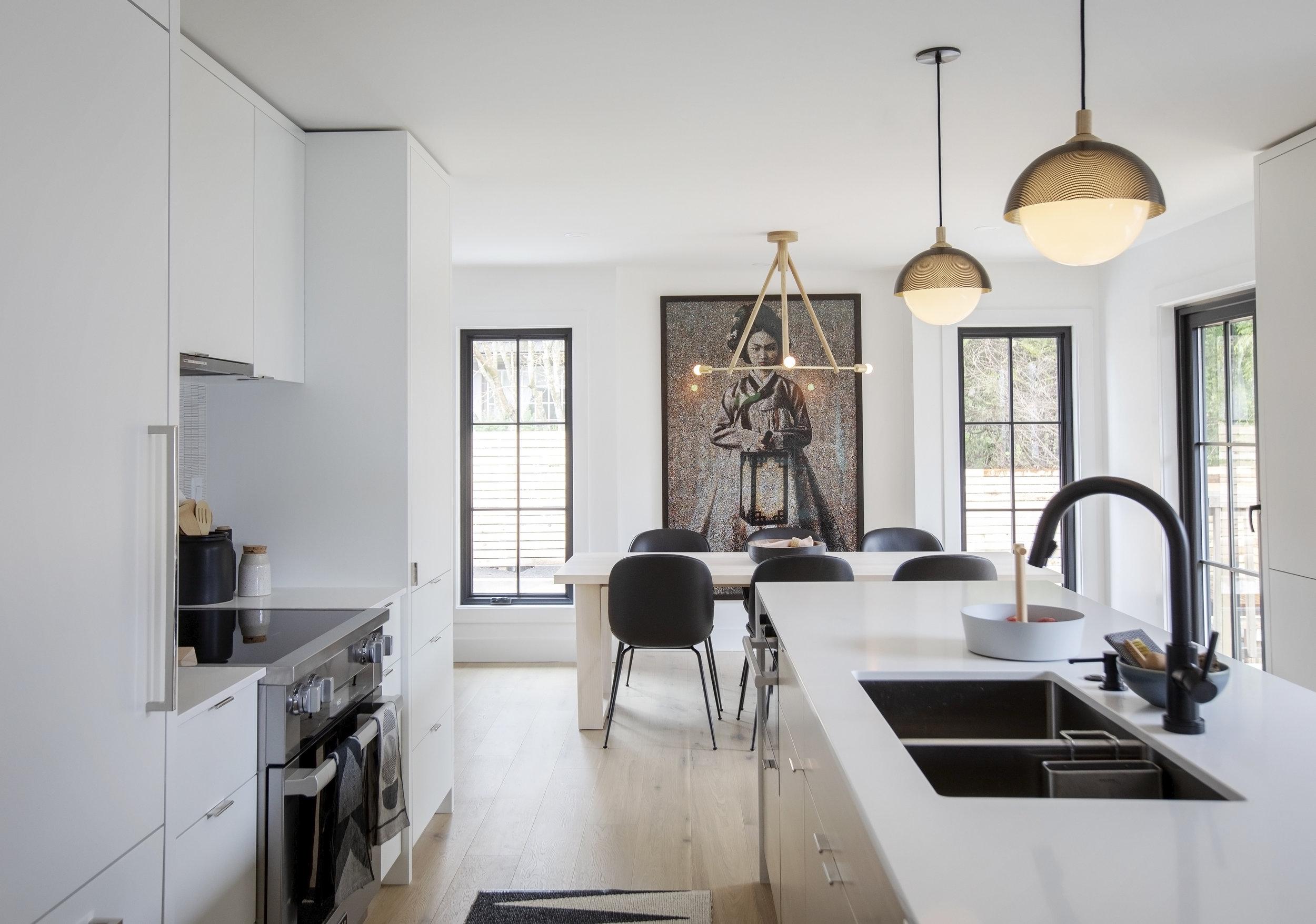Alderfield Place home in West Van living room and kitchen