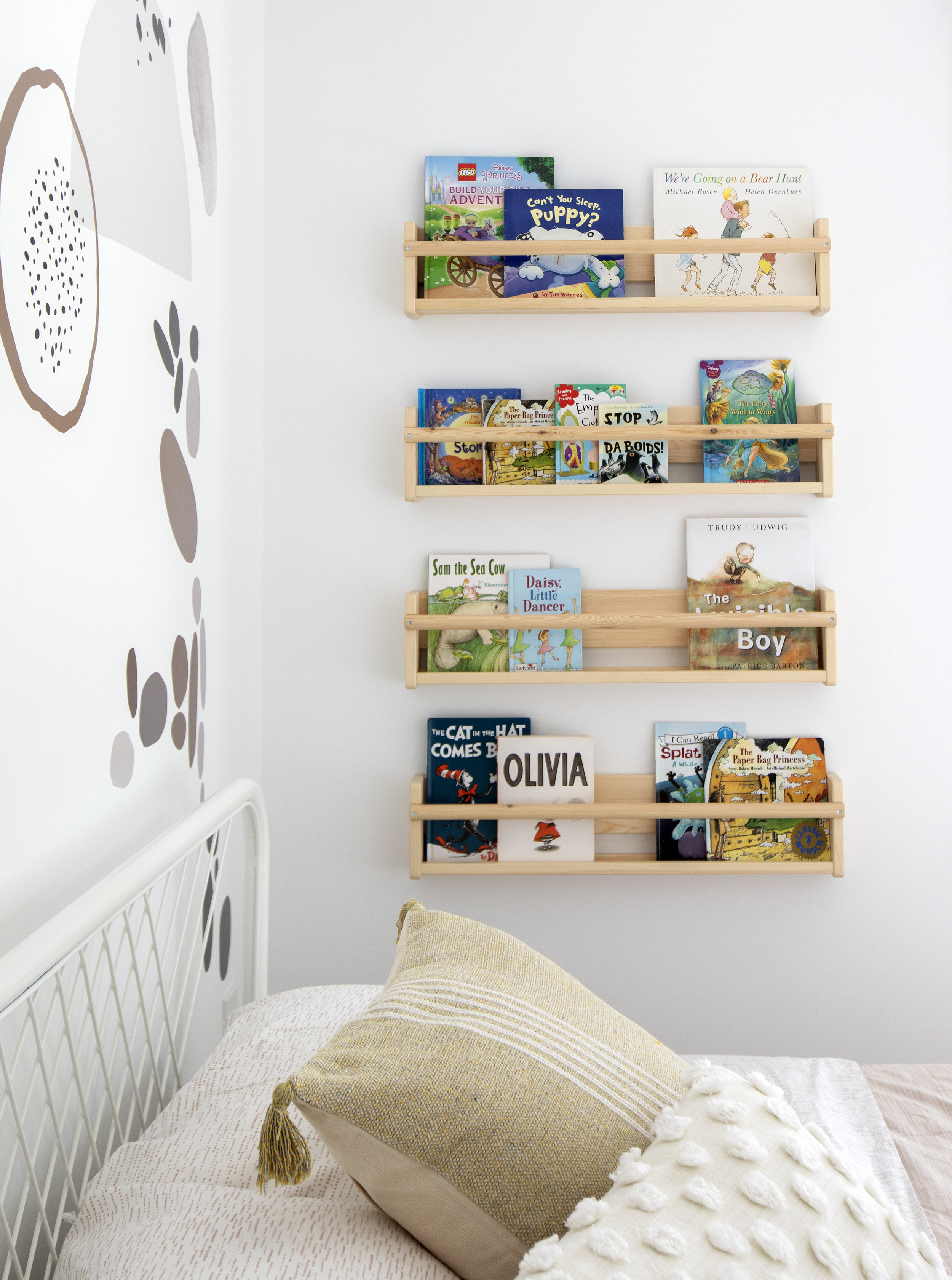 A custom built book rack was installed next to the bed.