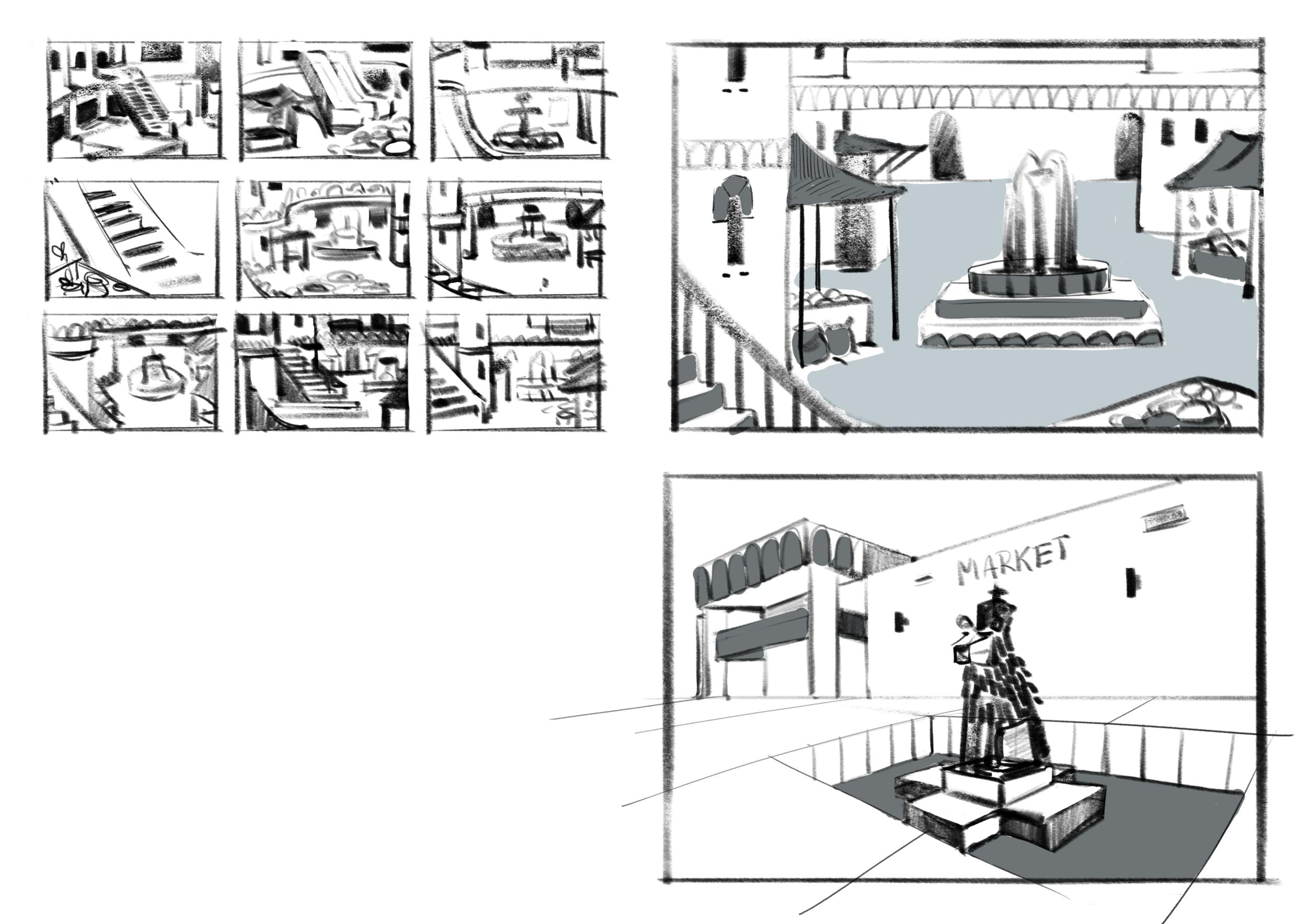 Concept thumbnails and tonal sketches
