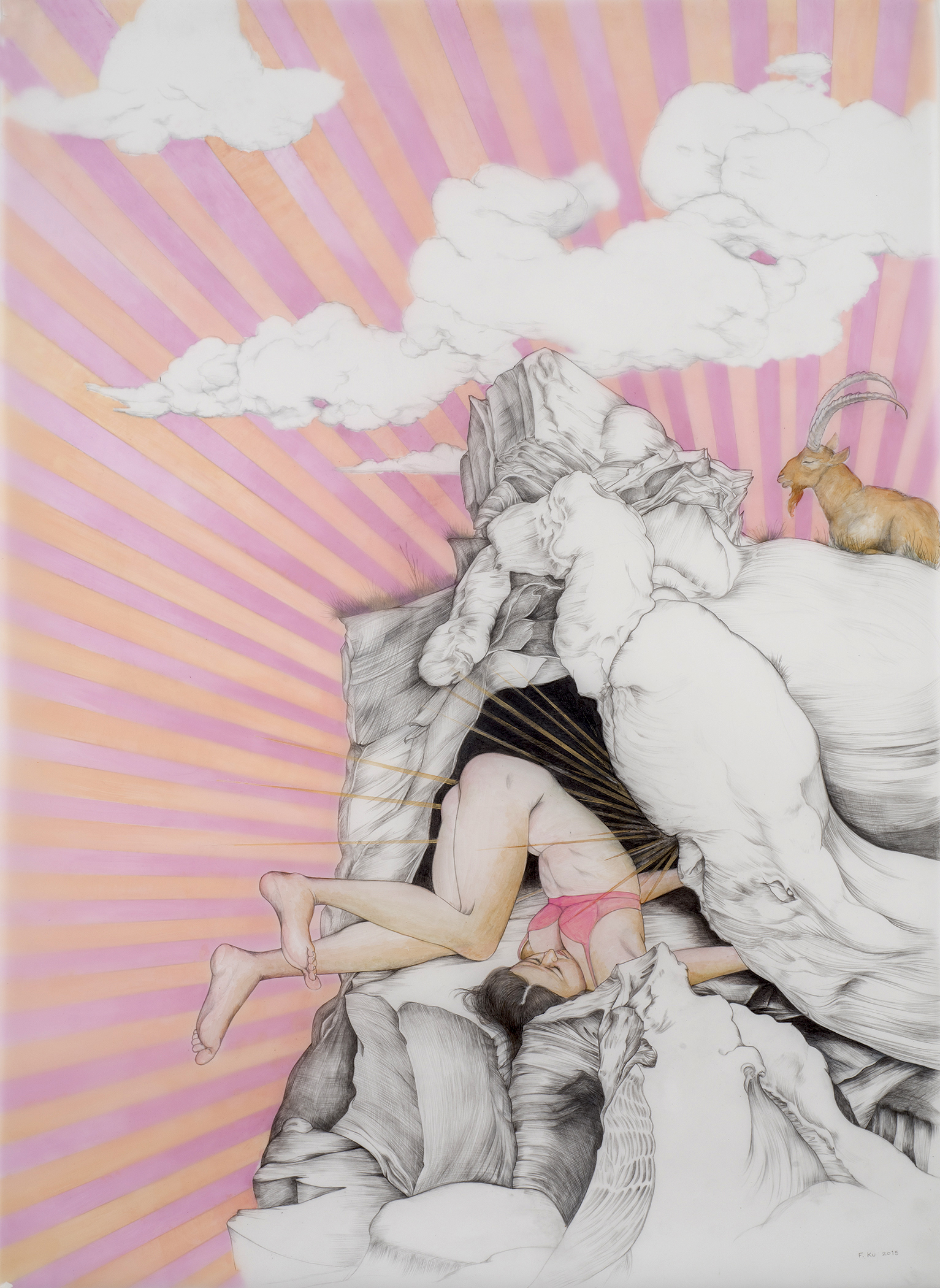 High Touch , 2015 Graphite and acrylic on layered sheets of polyester film 42 x 30 inches Photo: Bill Orcutt