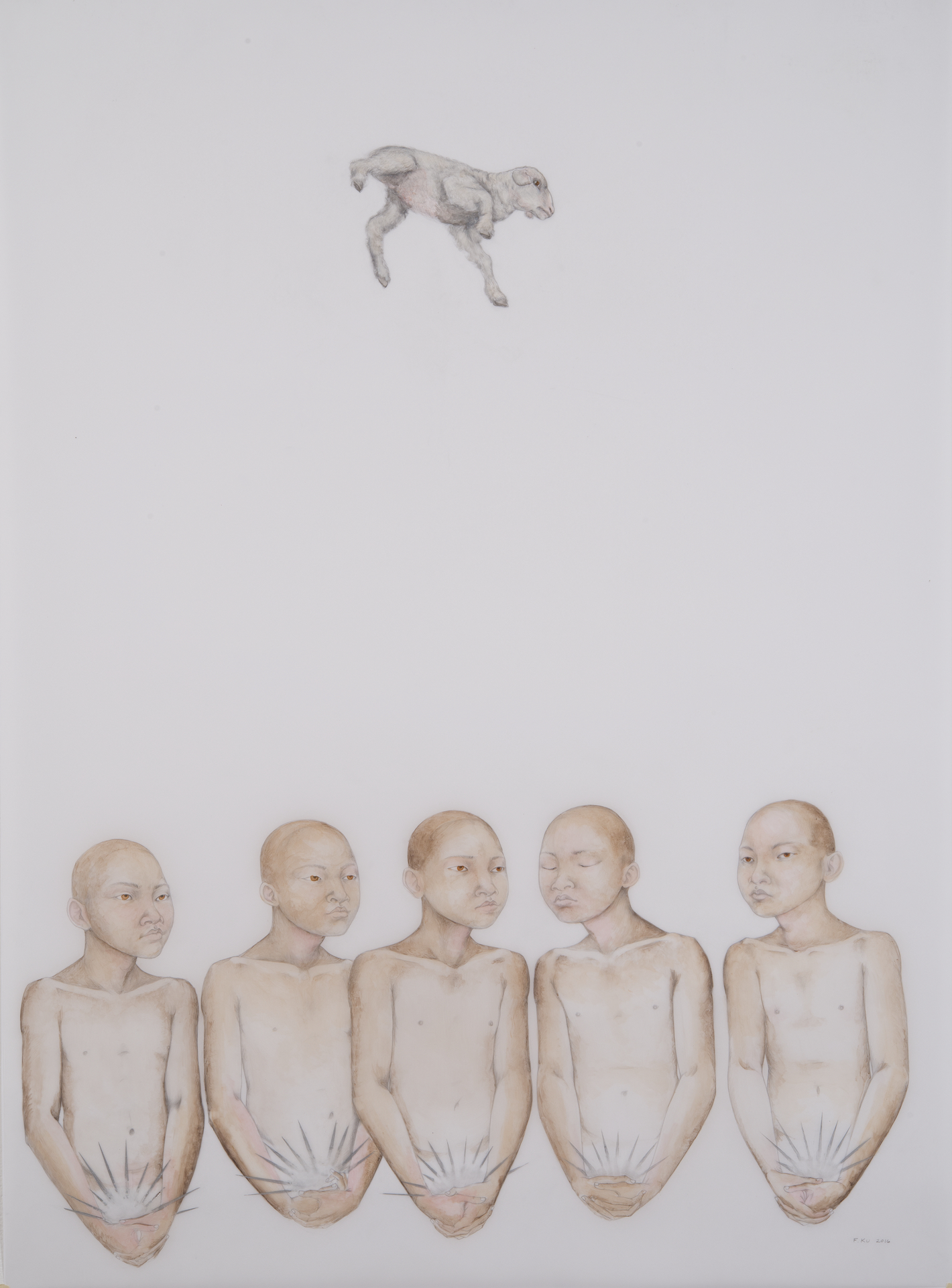 Supplicants , 2016 Graphite, acrylic and oil paint on drafting film 42 x 30 inches Photo: Bill Orcutt