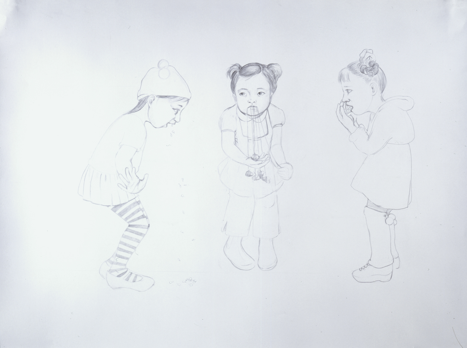 Losing Baby Teeth , 2004 Graphite on gray paper 38 X 50 inches