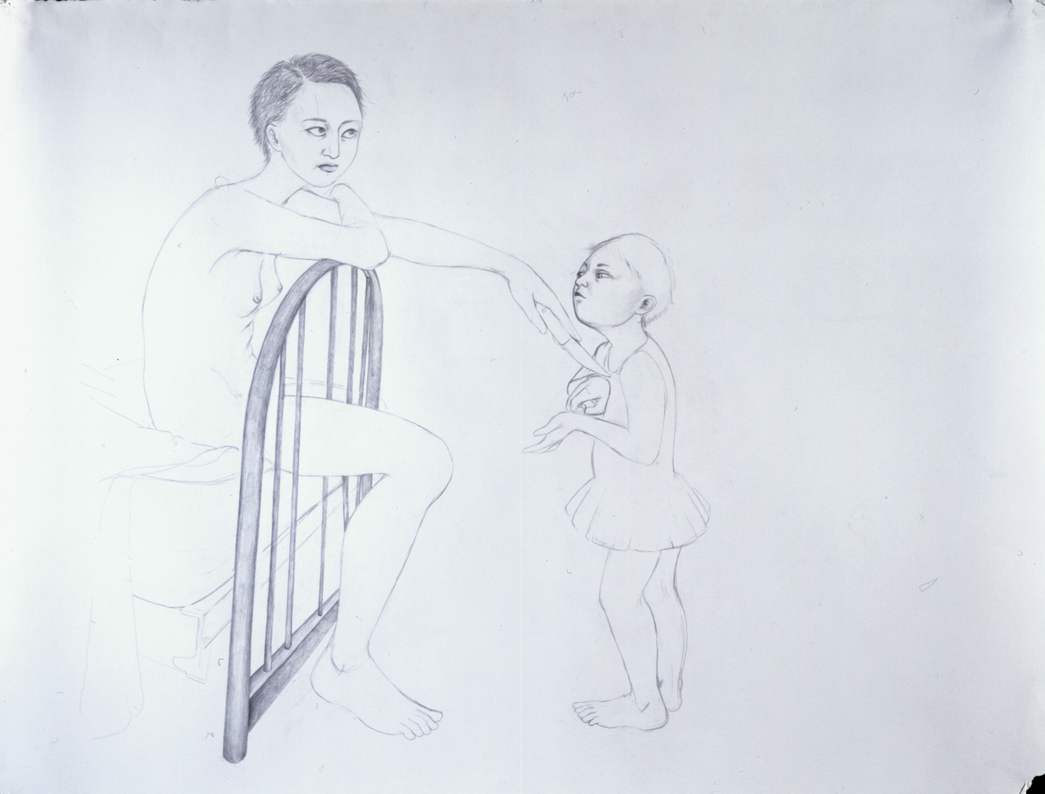 She's Out To Get You II , 2004 Graphite on gray paper 38 X 50 inches