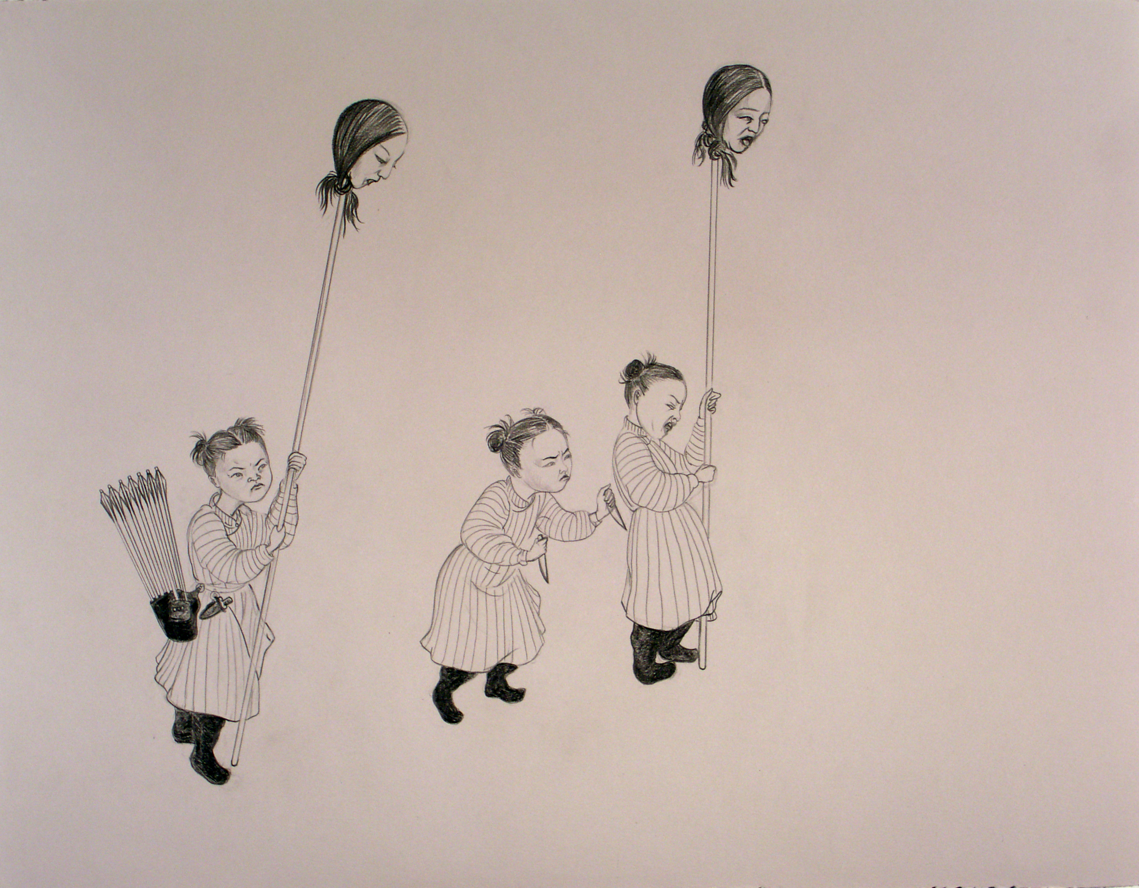 Warrior Girls,  2005 Graphite on gray paper 19.5 X 25 inches Private collection