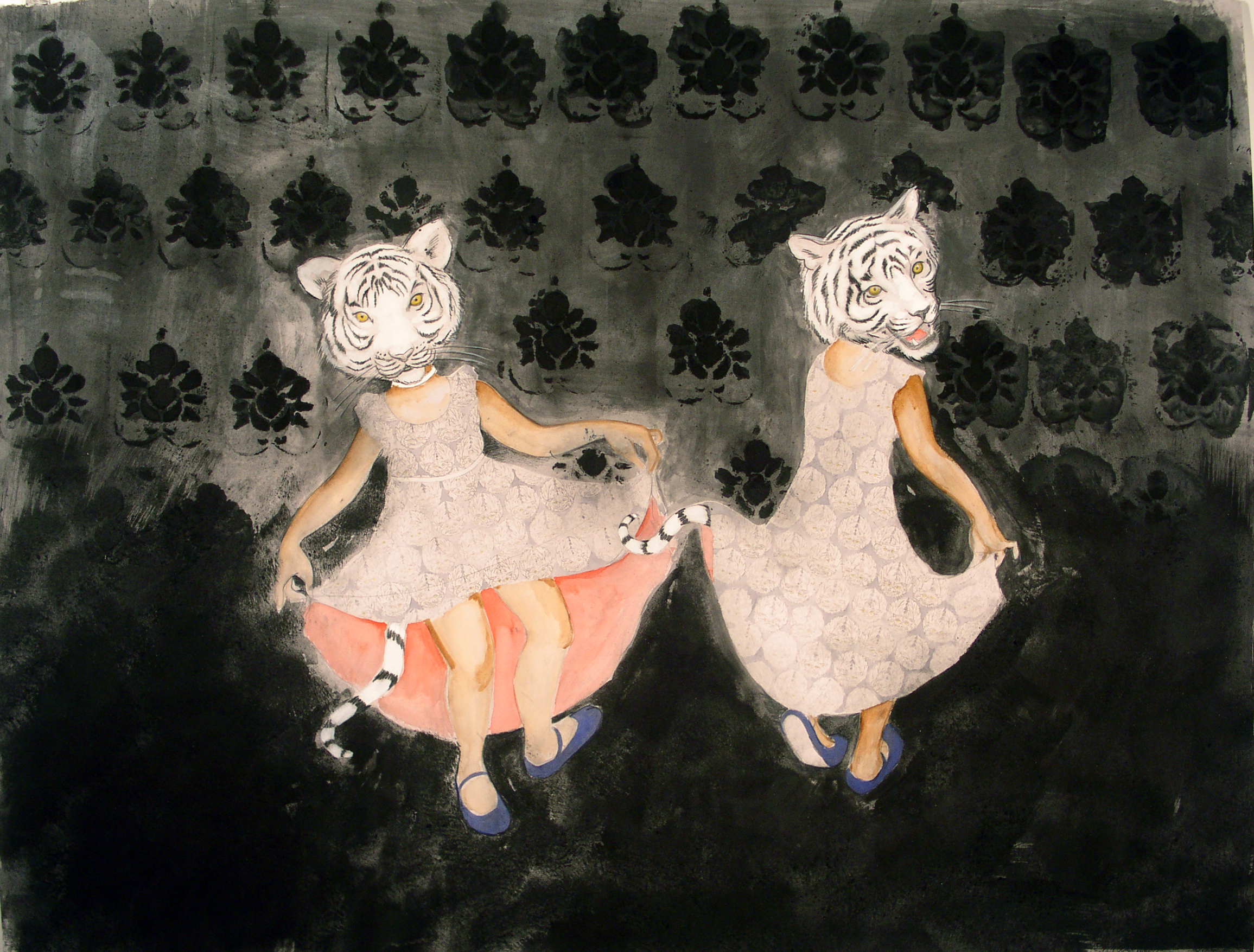 Tiger Girls , 2005 Charcoal, glue, graphite, ink and watercolor on gray paper 38 X 50 inches Private collection
