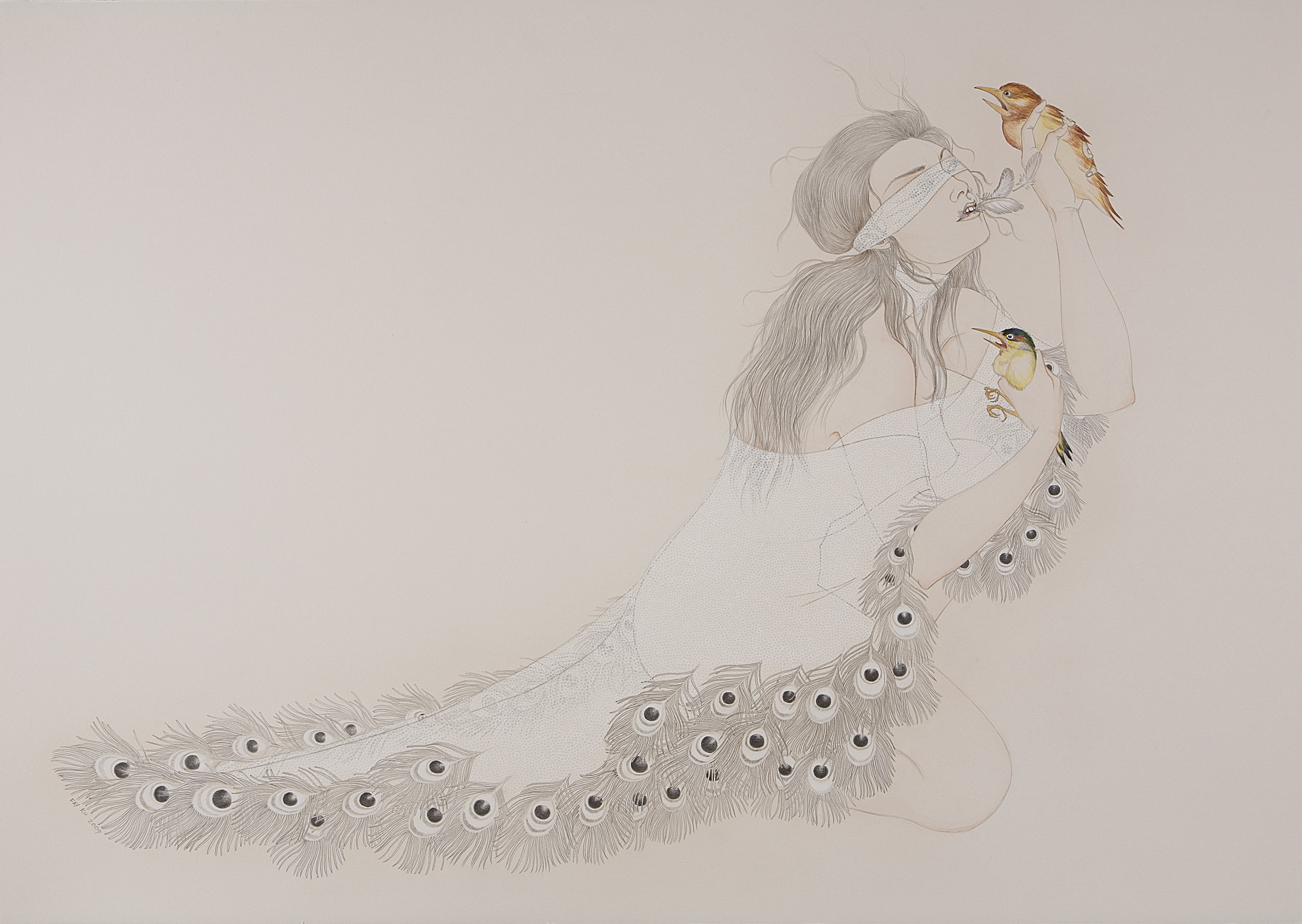 Birds Of A Feather , 2009 Graphite, ink, watercolor on ivory Fabriana Rosaspina 27.5 x 39 inches Private collection