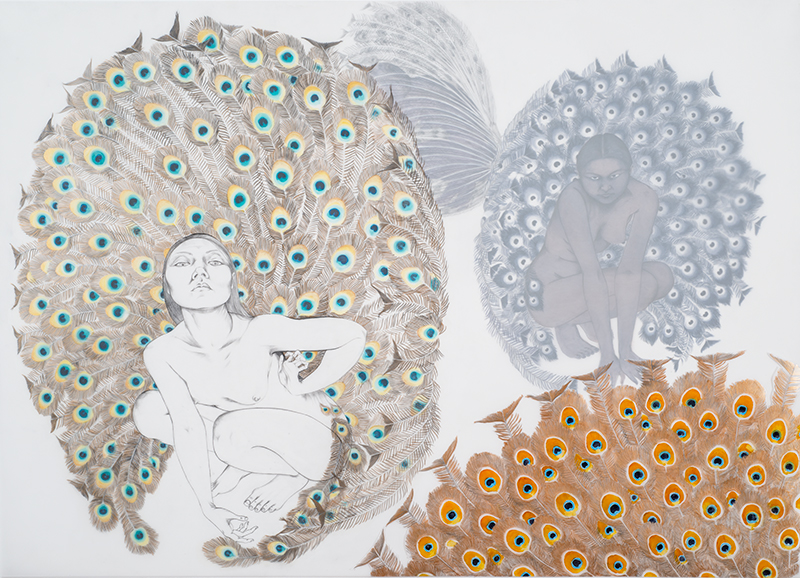 Spectacle , 2015 Graphite, oil and metallic color on layered and cut drafting film 30 x 42 inches Photo: Bill Orcutt