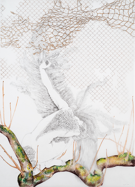Net , 2015 Graphite, oil and metallic color on layered and cut drafting film 42 x 30 inches Photo: Bill Orcutt