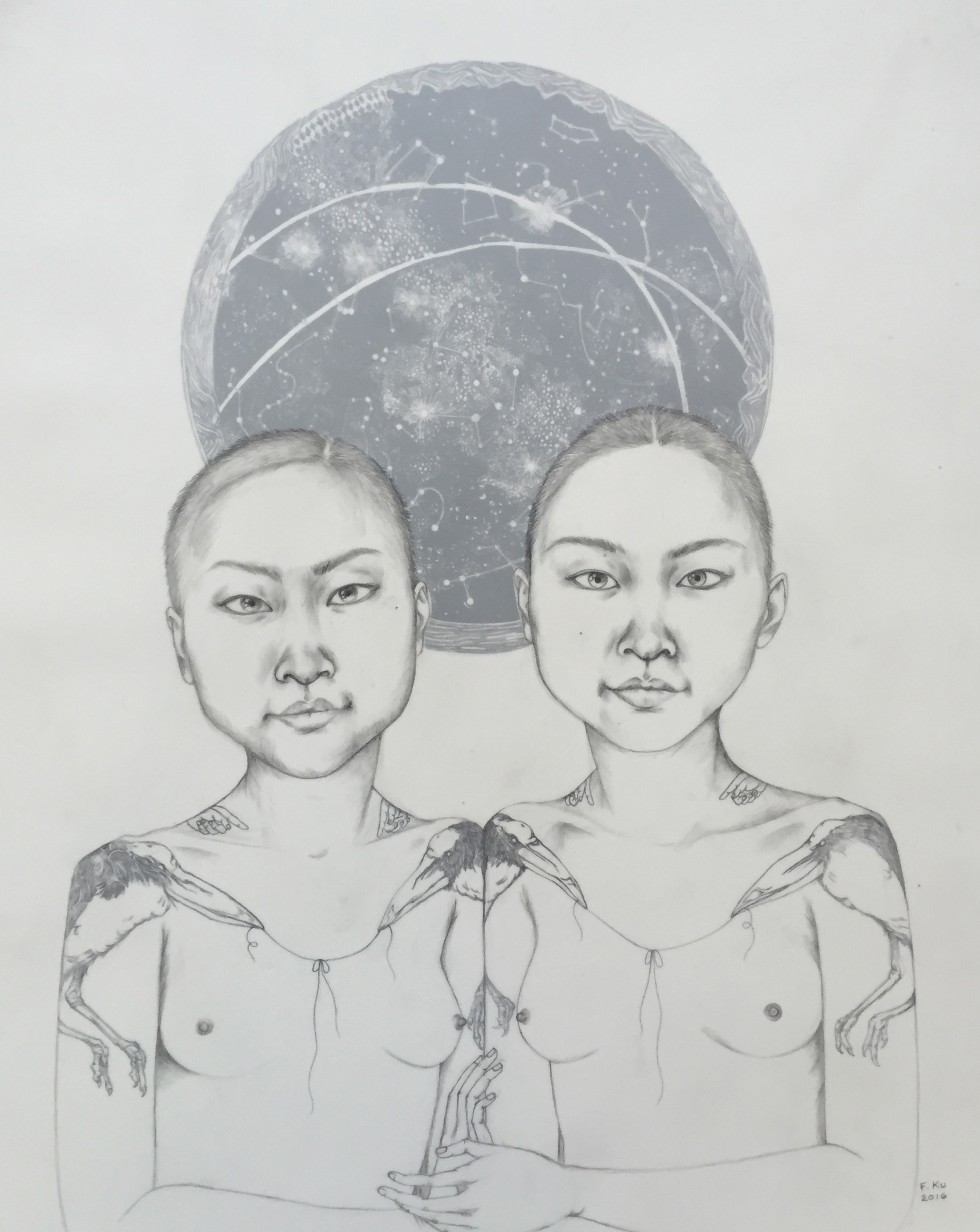 Gemini , 2016 Graphite, ink and layered sheets of drafting film 20 x 16 inches