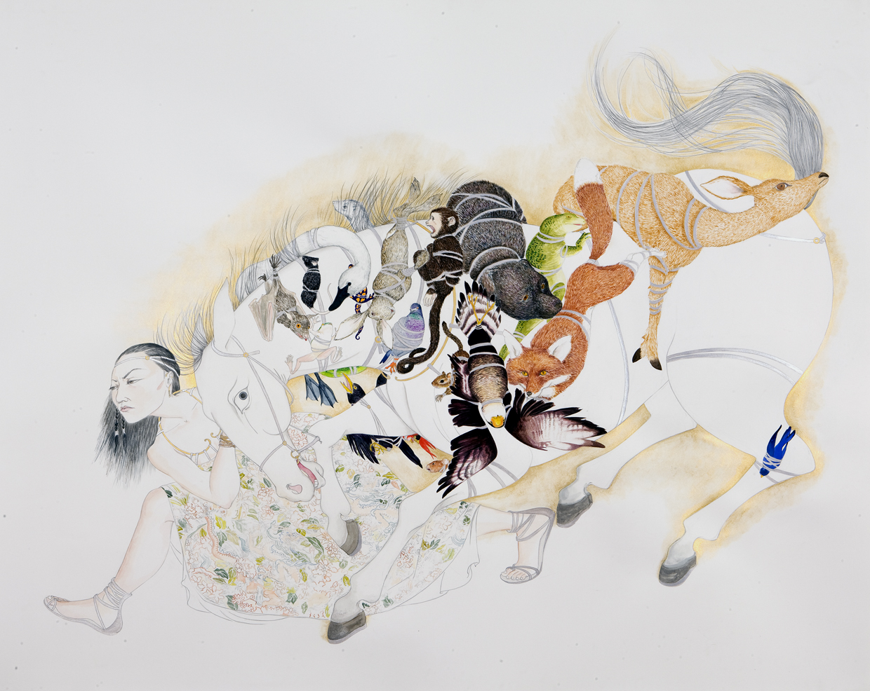 Accumulation , 2009 Graphite, ink, watercolor on paper 37 X 49 inches Private collection