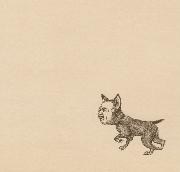 Man-Dog Series: Javier , 2011 Single-color serigraph on ivory Fabriana Rossapina, edition of 25 14 X 13 inches Produced as artist-in-residence at Women's Studio Workshop, Rosendale, NY