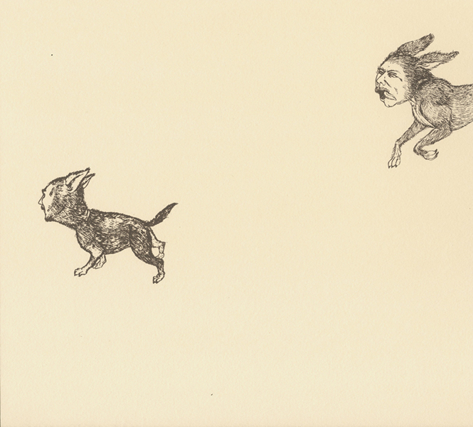 Man-Dog Series: Jude & Tony , 2011 Single-color serigraph on ivory Fabriana Rossapina, edition of 25 14 X 13 inches Produced as artist-in-residence at Women's Studio Workshop, Rosendale, NY