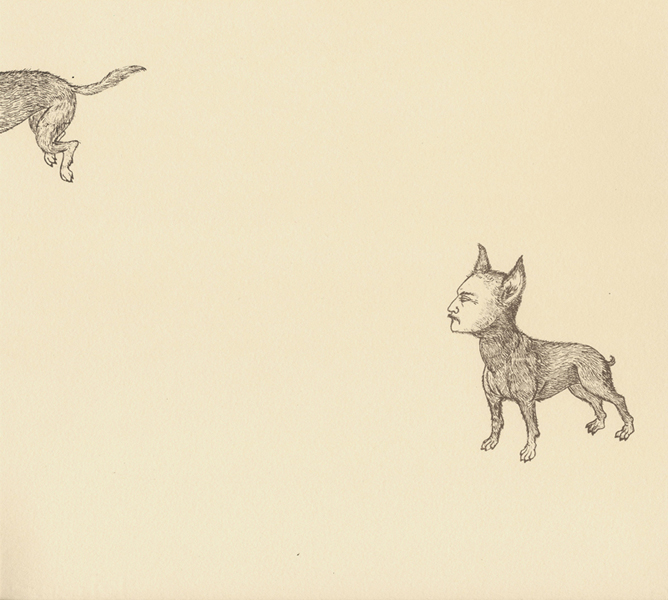Man-Dog Series: George & Kevin , 2011 Single-color serigraph on ivory Fabriana Rossapina, edition of 25 14 X 13 inches Produced as artist-in-residence at Women's Studio Workshop, Rosendale, NY