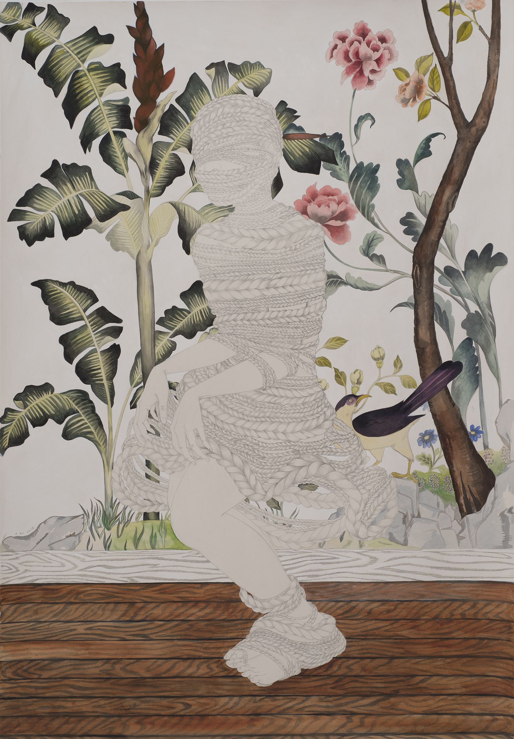 Domesticate , 2013 Graphite, watercolor, ink on ivory Fabriana Rosaspina 39 x 27 1/2 inches Private collection  Photo: Bill Orcutt