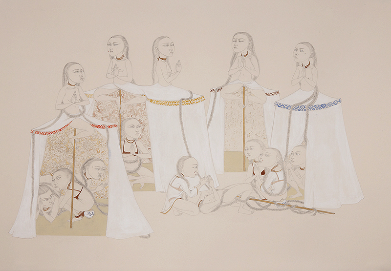 Shelter II , 2012 Graphite, watercolor on ivory Fabriana Rosaspina 27.5 x 39 inches Private collection Photo: Bill Orcutt