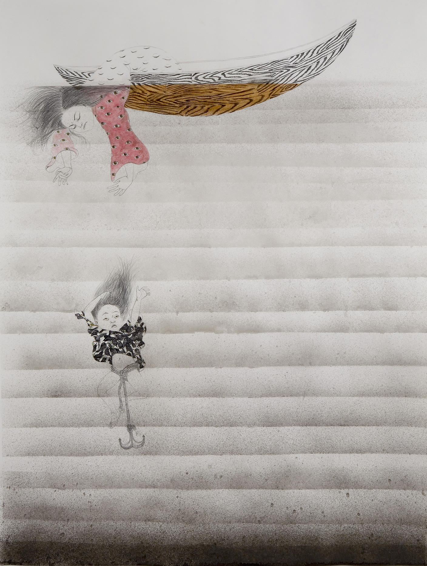 Drown , 2007 Graphite, watercolor, and ink on paper 50 X 38 inches Collection of Treger/Saint Silvestre-Art Brut Collection