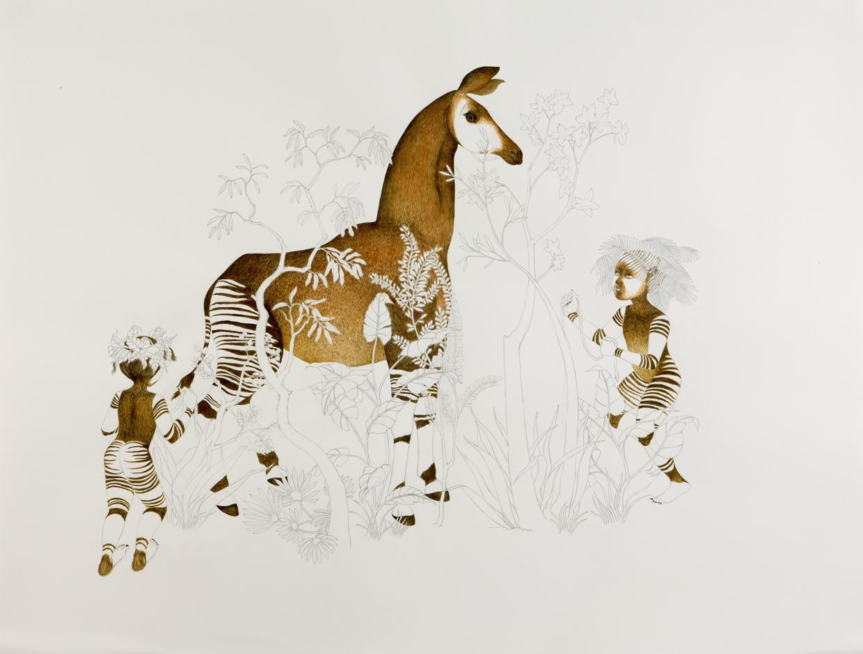 Cornering Okapi , 2008 Graphite, watercolor on paper 38 X 50 inches Private collection