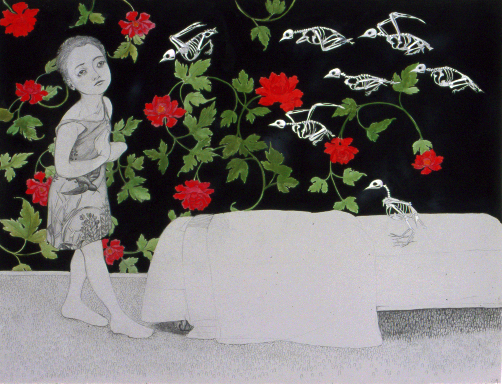 Ghostbirds II , 2004 Graphite, ink on gray paper 38 X 50 inches Private Collection