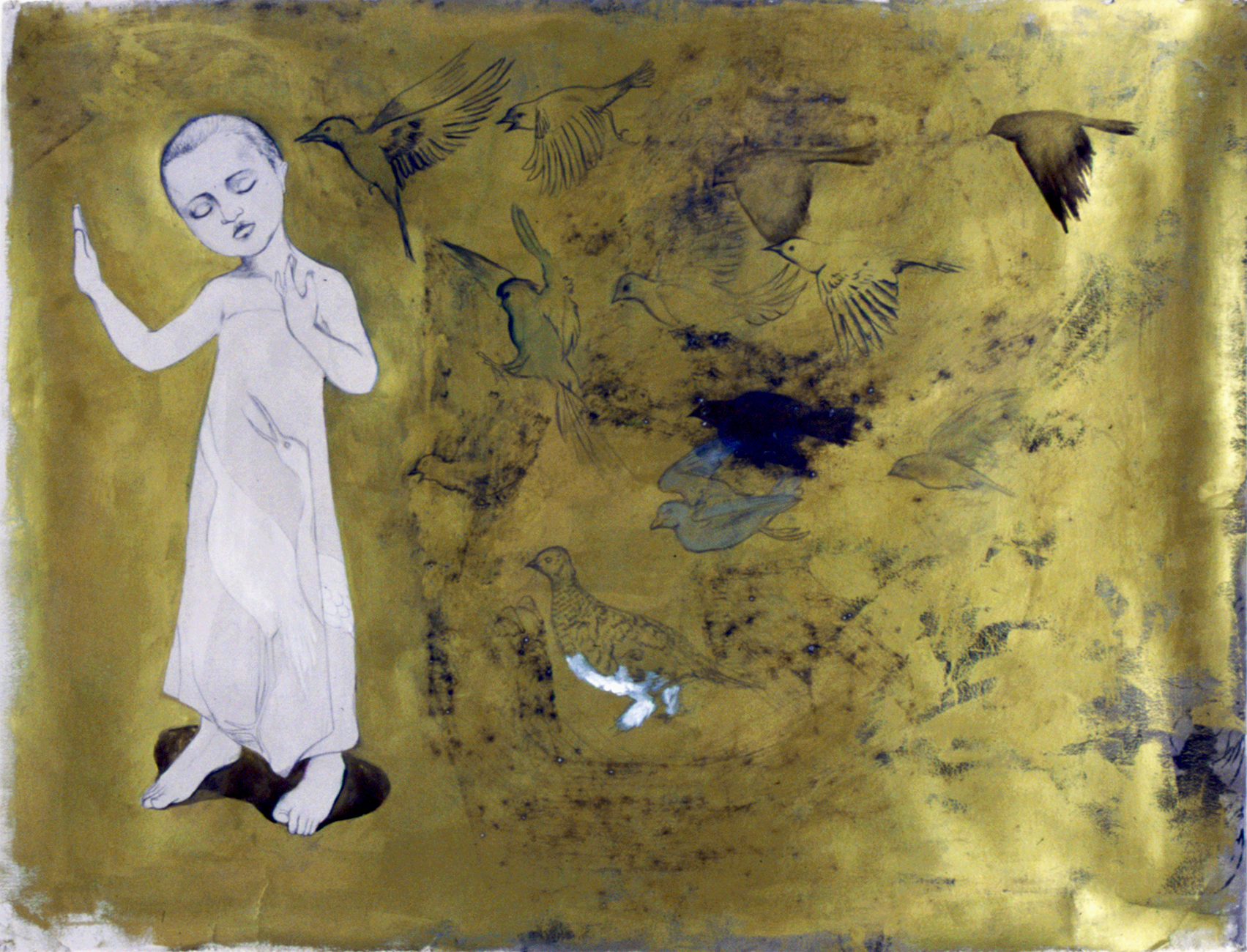 Ghostbirds , 2004 Graphite, ink, acrylic on gray paper 38 X 50 inches Private collection