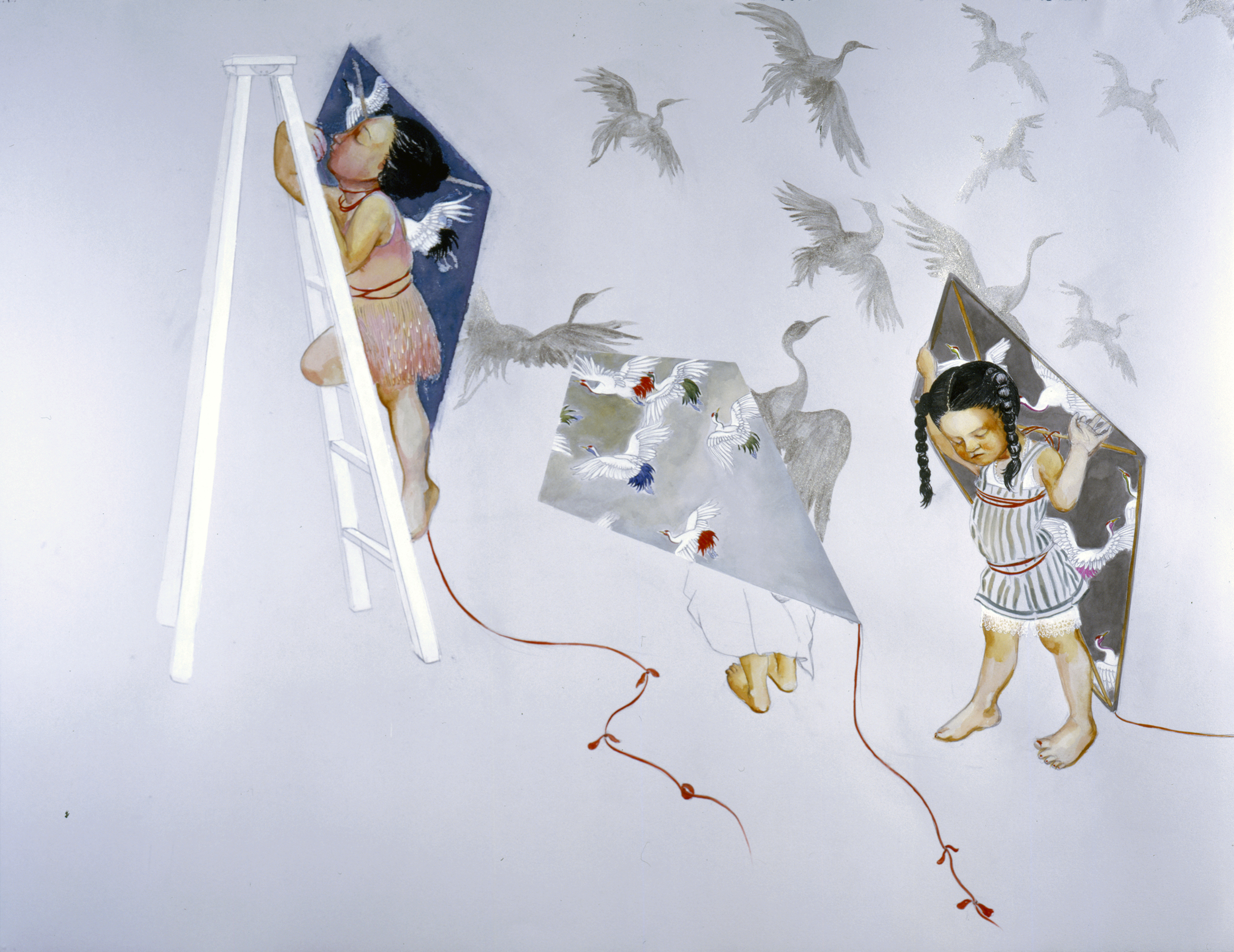 Kite Flying, 2005 Graphite, ink on gray paper 38 X 50 inches Private collection