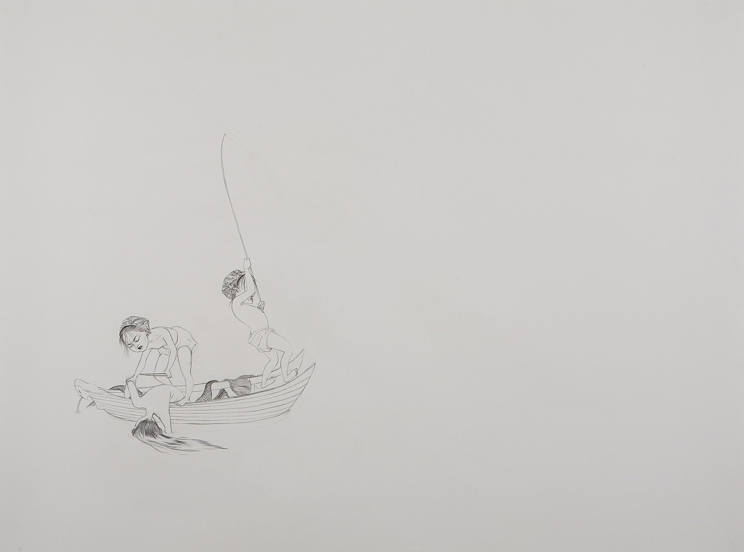 Surface Tension Series I: Big Catch , 2007 Graphite on paper 38 X 50 inches Private collection