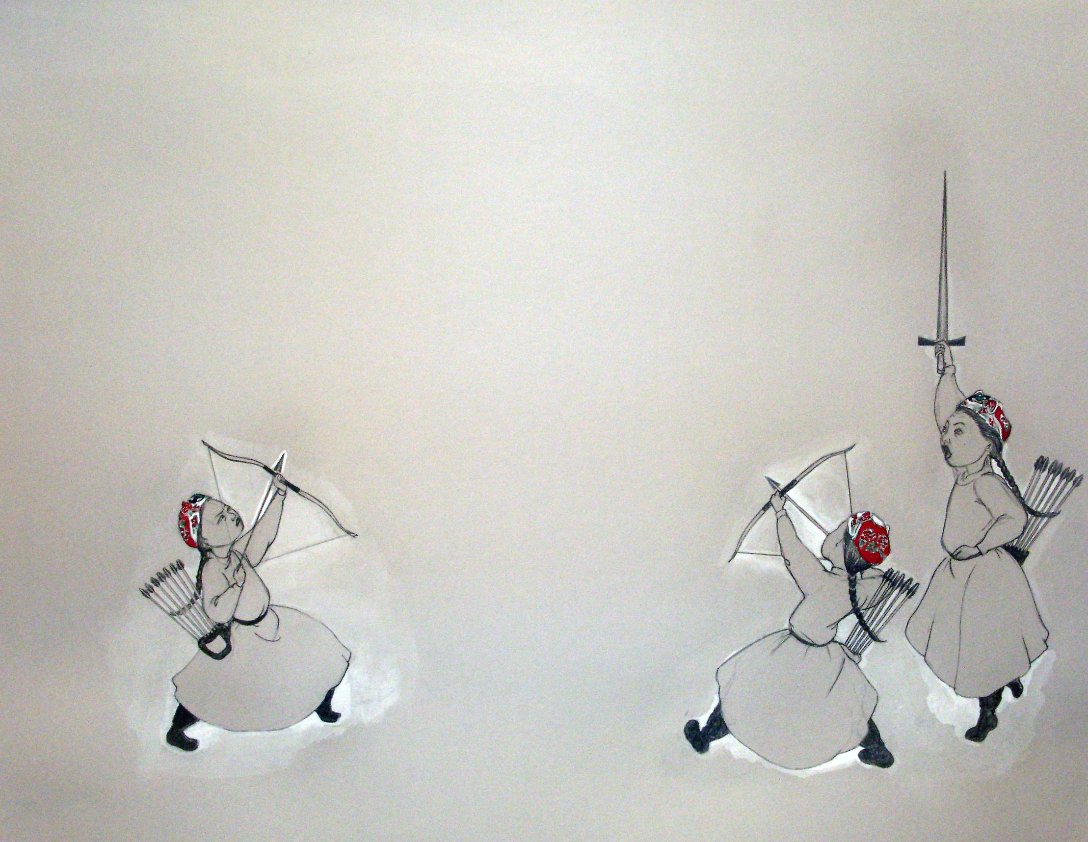 Showdown , 2006 Graphite, watercolor on gray paper 19 X 25 inches Private collection