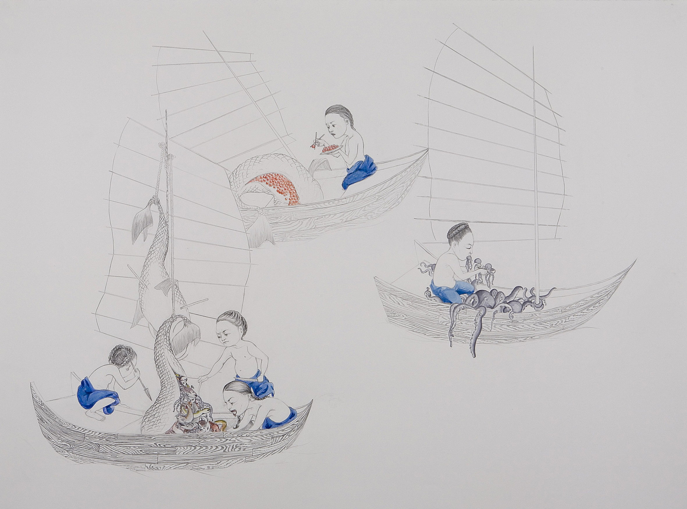 Surface Tension III: Fishing , 2007 Graphite, watercolor, ink on paper 38 X 50 inches Collection of the Wadsworth Atheneum, Hartford, CT