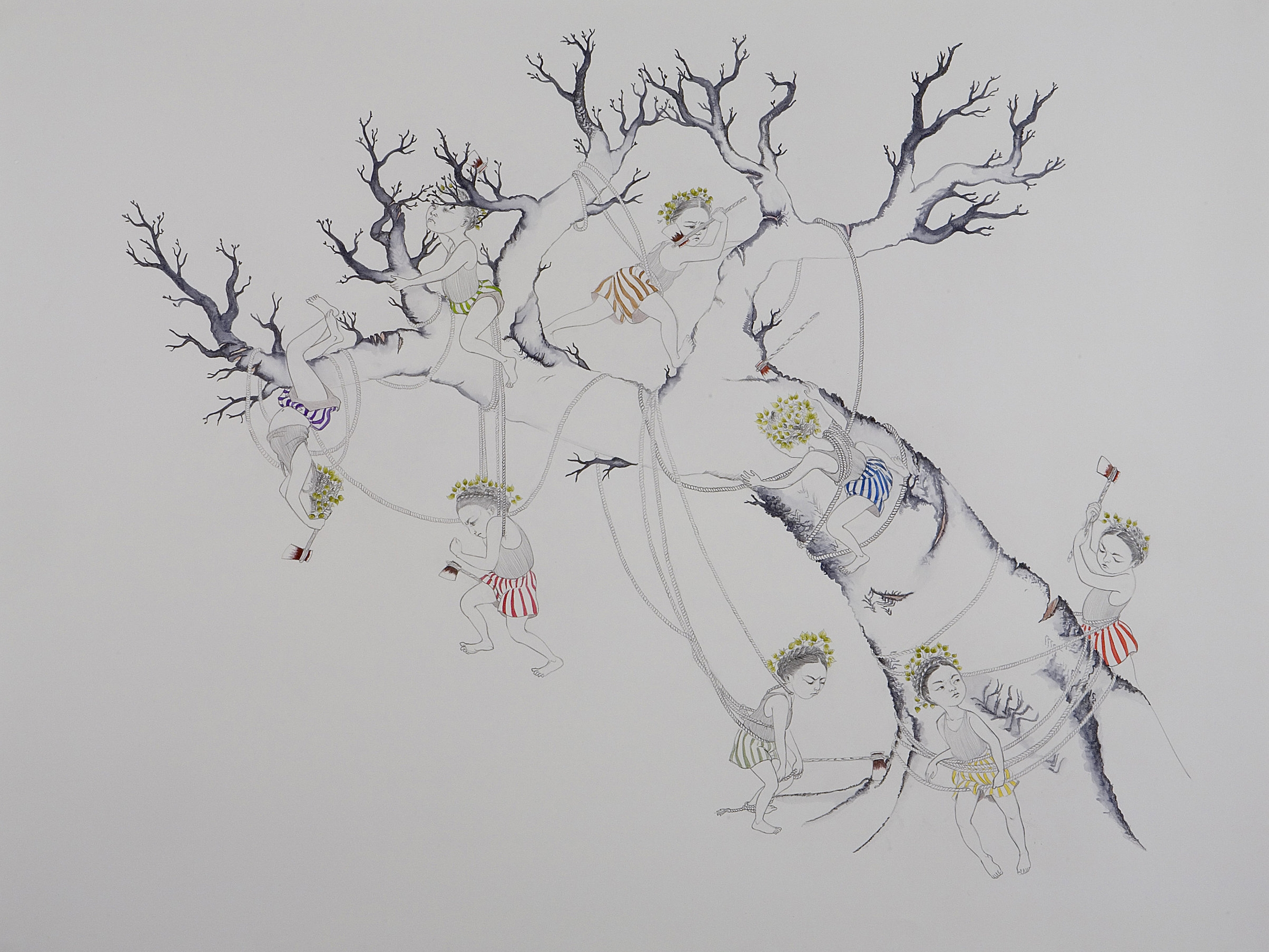 Taking Down A Giant , 2007 Graphite, watercolor, ink on paper 38 X 50 inches Private collection