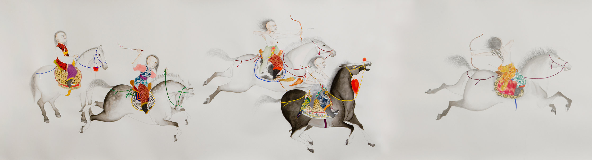 Women Warriors , 2008 Graphite, watercolor, gouache, ink on paper 50.5 X 192 inches Created during artist residency at Santa Fe Art Institute, Santa Fe, NM Private collection