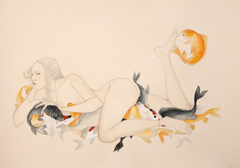 Sea Bed , 2009 Graphite, ink, watercolor on cream-colored paper 27.5 x 39 inches Private collection