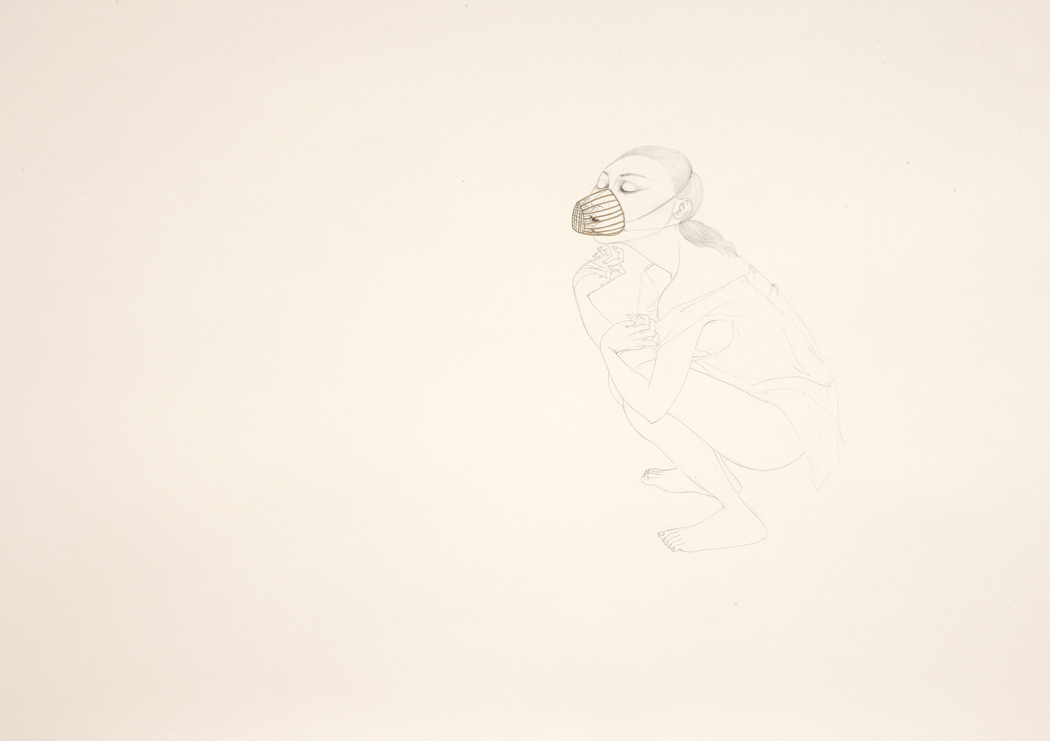 Still Breath , 2011 Graphite, watercolor, metallic color on ivory Fabriana Rossapina 27.5 x 39 inches Photo: Bill Orcutt