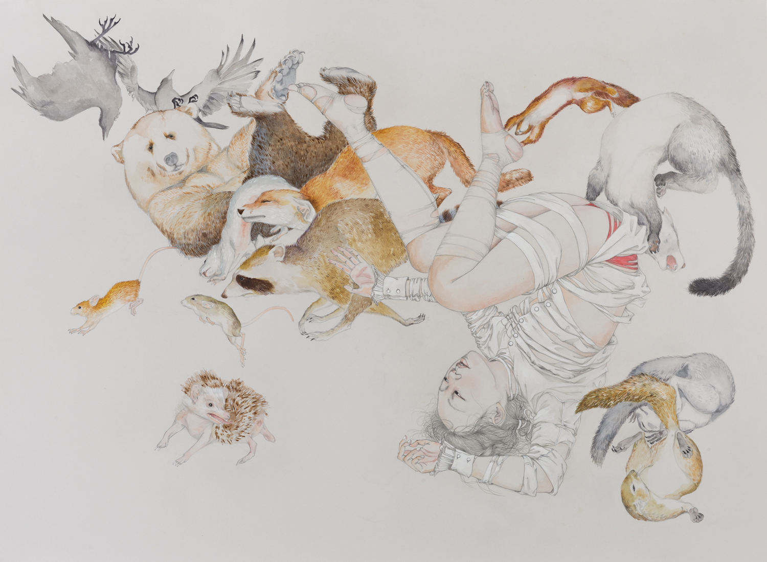 Fall Out , 2019 Graphite, ink and watercolor  on ivory paper 22 x 30 inches Photo: Brandon Perdomo