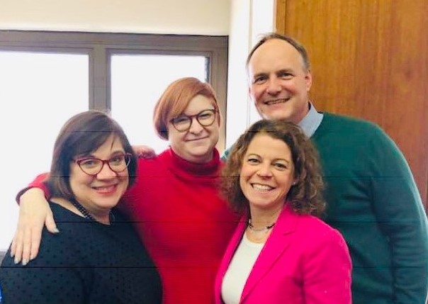 Old Friends & Colleagues:  Judge Audrey Skwierawski, Attorney Allison Ritter, and Justice Rebecca Dallet with Paul Dedinsky.