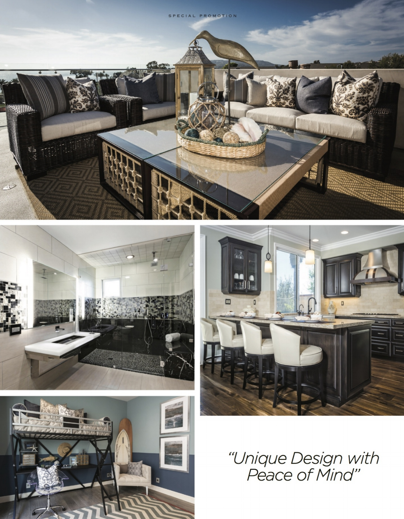 "A collection of 4 images showing some of Audra's remodels with a quote from her ""unique design with peace of mind"". Images show a rooftop deck design with outdoor furniture, a luxury black & white bathroom, a high end kitchen with four counterstools, and a blue bedroom with a surfboard designed specifically for a teen boy."