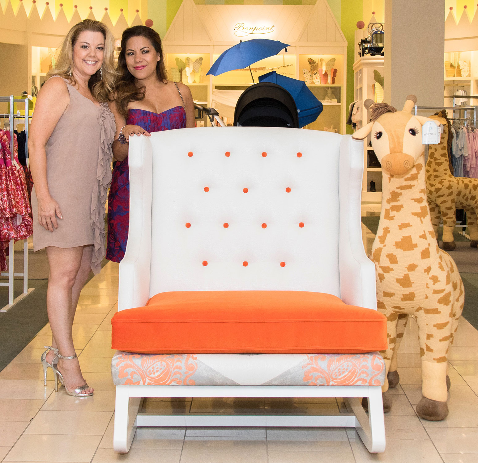 """ART OF DESIGN - In 2016, Audra designed this chair and a half that she lovingly named the """"Suite Dreams Baby Rocker"""", which symbolized the cherished bonding time between parents and their newborn baby.Several designers created a chair and all were auctioned off at this charity event, which was located in Newport Beach, California.All donations benefited the Illumination Foundation, an organization which supports homeless children and families throughout Southern California."""