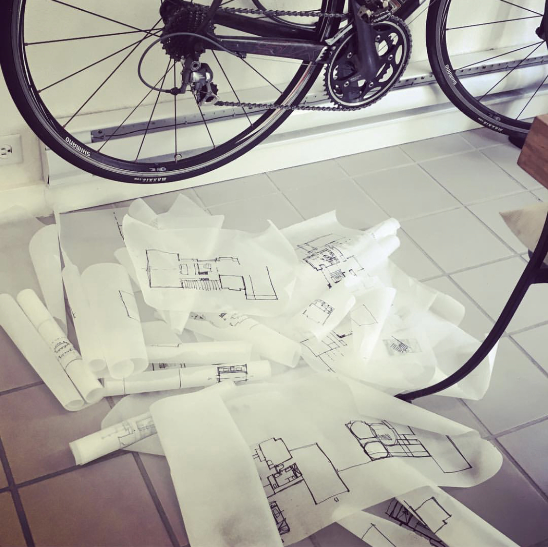 The floor of the design studio often looks like this.