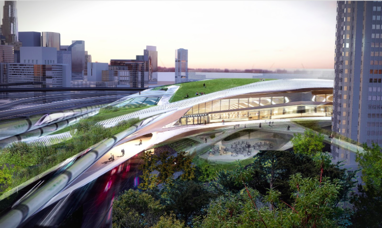 A preliminary rendering of the Hyperloop One downtown Los Angeles Terminal