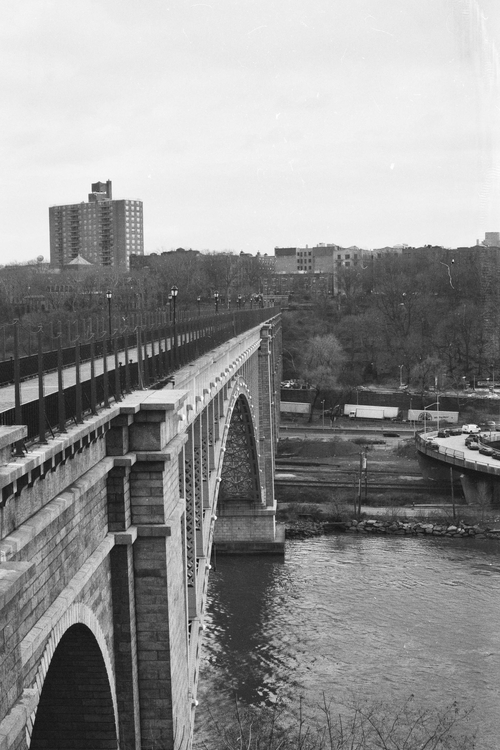The High Bridge. New York City.  Details :  film, 35mm Ilford Delta 400. Pentax K1000. Fletcher Berryman, 2018.