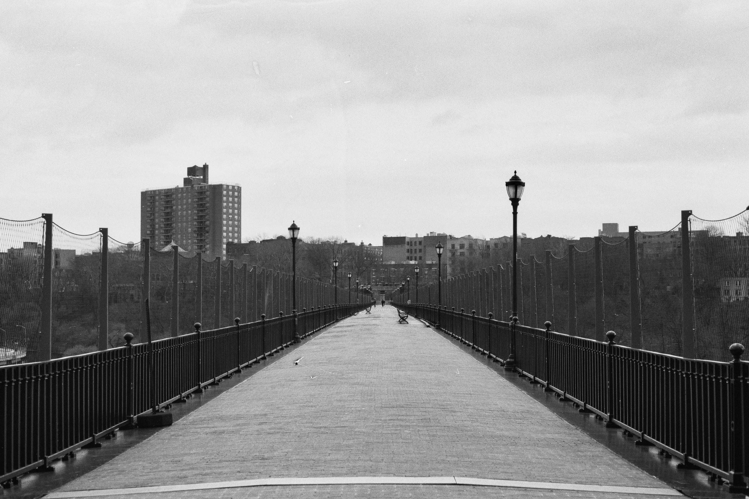Towards the Bronx side. The High Bridge, New York City.  Details :  film, 35mm Ilford Delta 400. Pentax K1000. Fletcher Berryman, 2018.