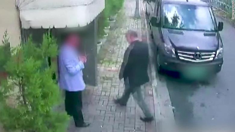 A security camera image shows Khashoggi entering the Saudi Consulate in Istanbul.   [Photo: CNN]